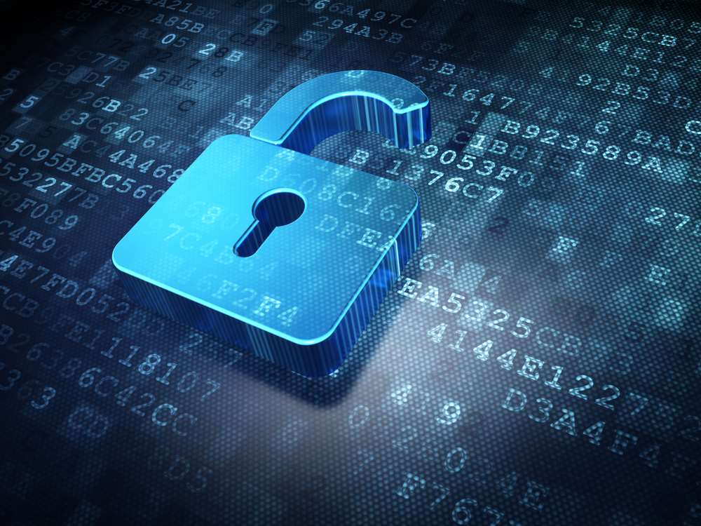 Opened Virtual Padlock above green number codes